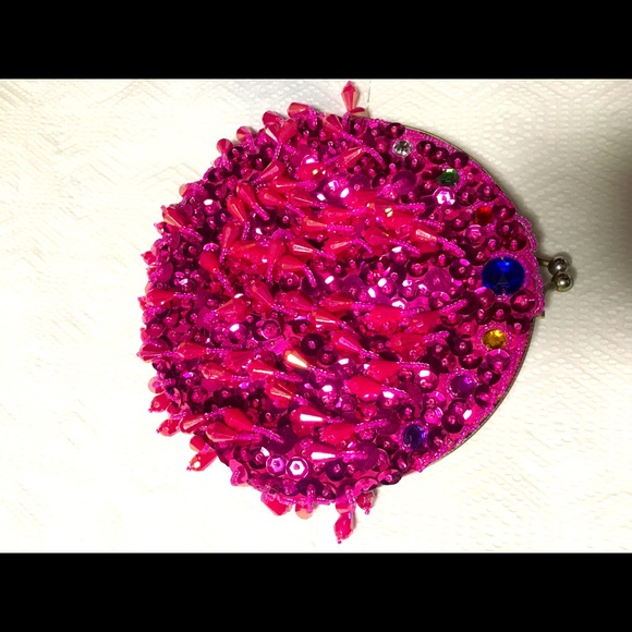 Vintage Pink Sequin And Beaded Purse Double Sided